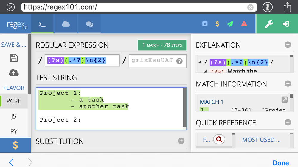 screenshot of RegEx101