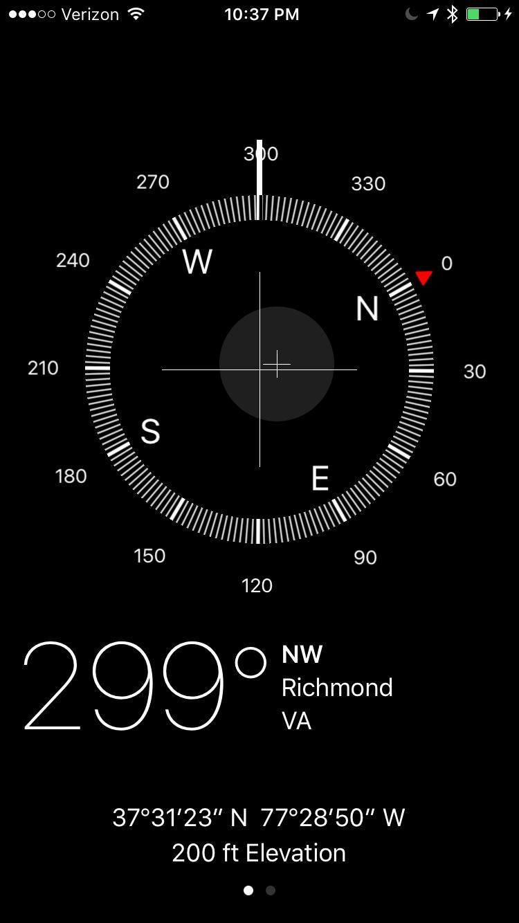 screenshot of Apple Compass app