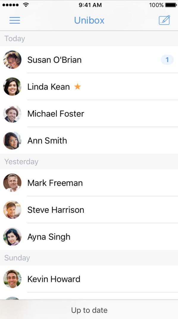 screenshot of Unibox app