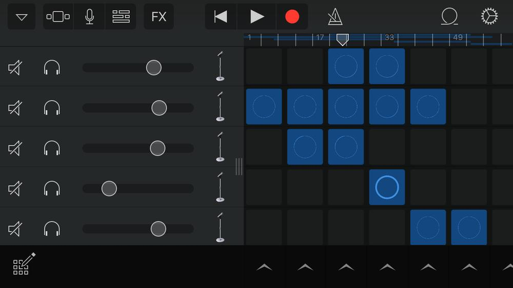 screenshot of iOS GarageBand