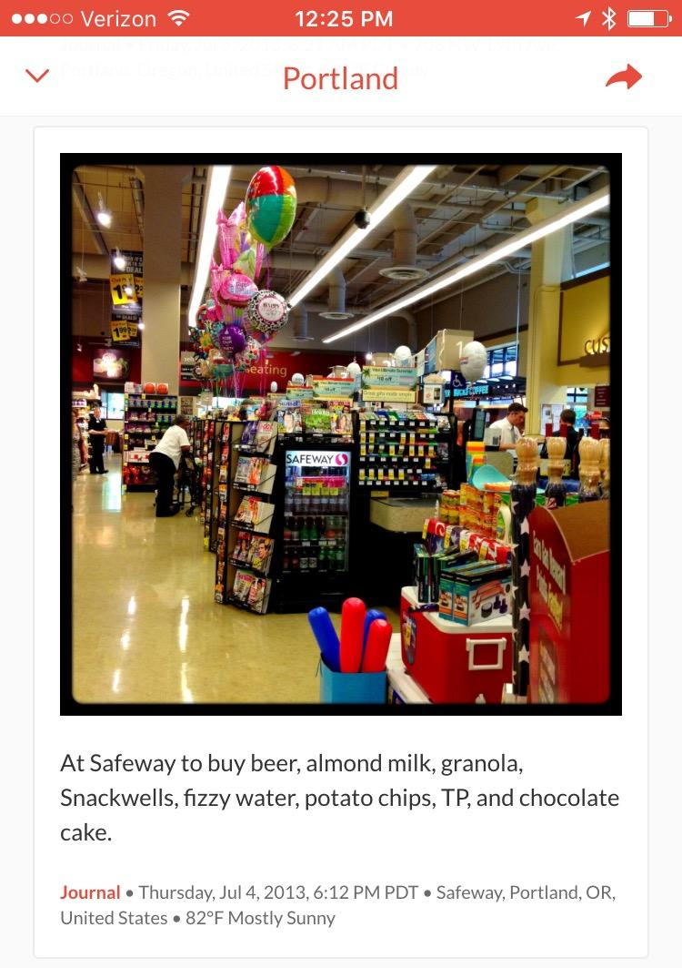 photo of journal entry from Portland grocery store