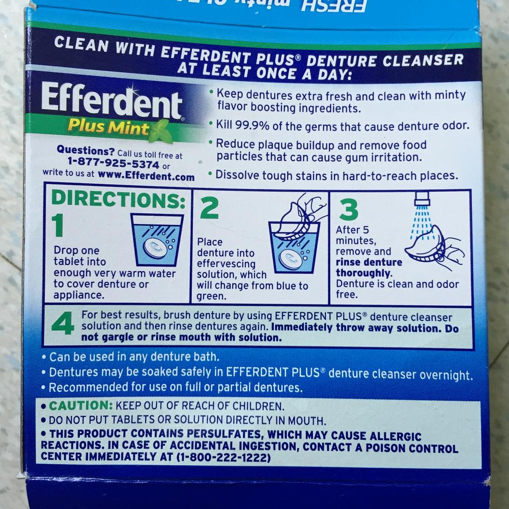 photo of Efferdent box