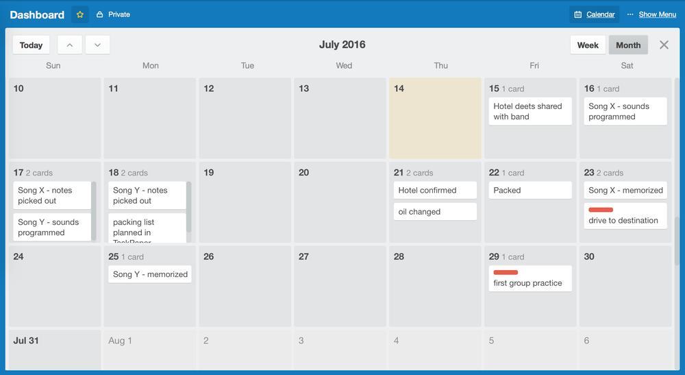 screenshot of Trello month calendar
