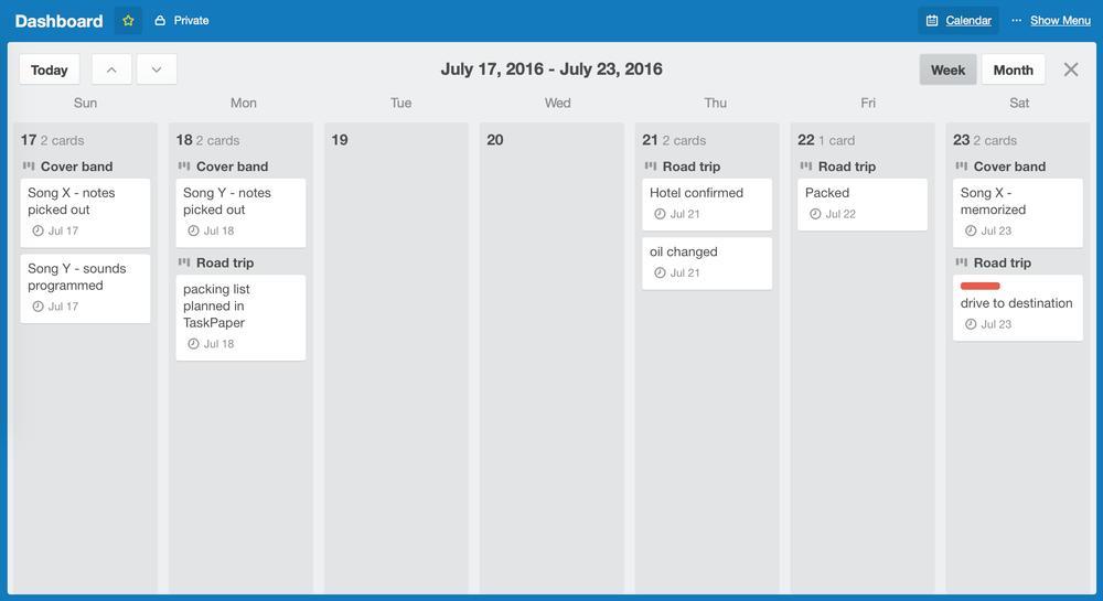 screenshot of weekly calendar in Trello
